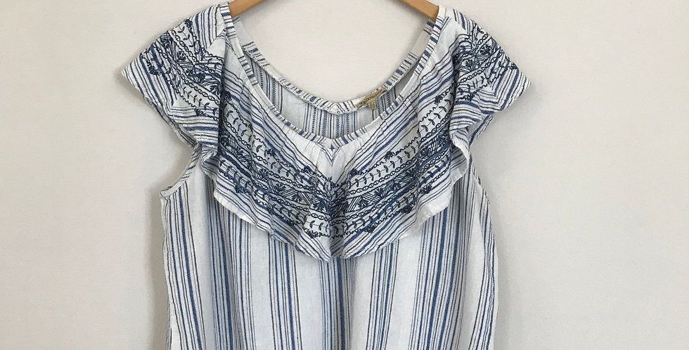 Democracy Striped Top, Size L
