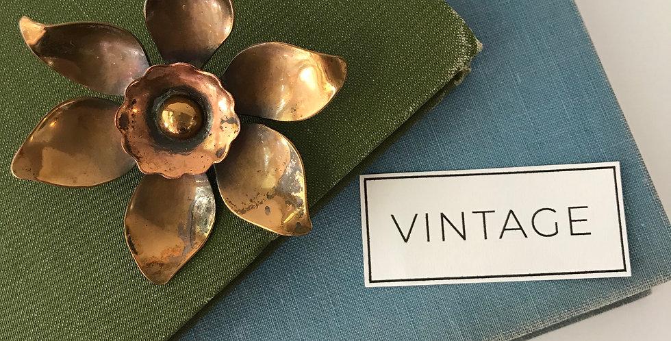 Vintage Copper Flower Brooch