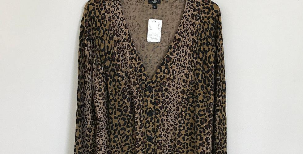 Talbots Leopard Print Cardigan, Size 1X/2X