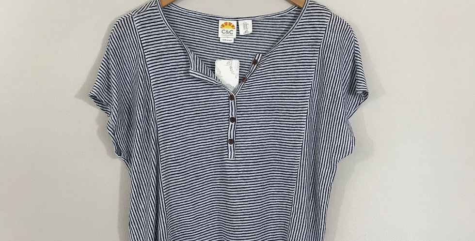 C&C California Striped Linen Tee, Size M