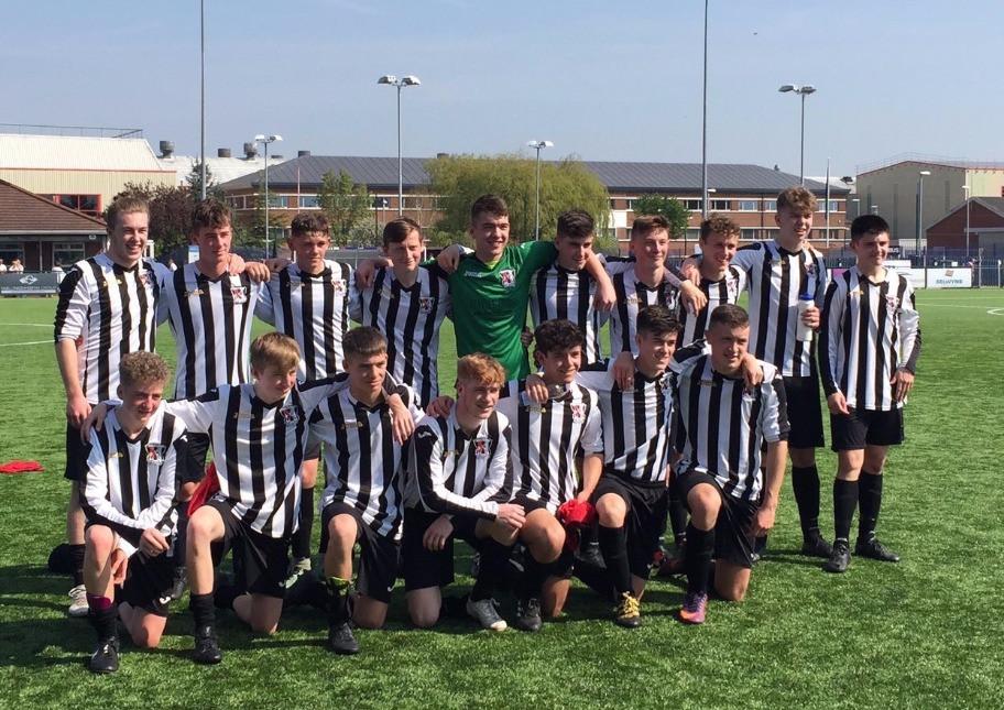 U16s Celebrate their win over Airbus
