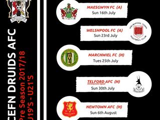 U19s / U21s Pre-season fixtures