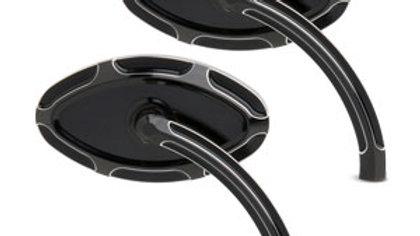 Beveled Cat Eye Forged Billet Mirror - Short Stem Black