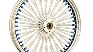 Big Daddy White Spokes and Blue Nipples Front Wheel