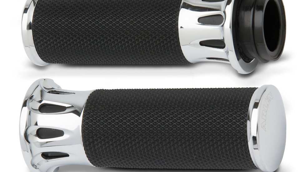 Arlen Ness Deep Cut Fusion Grips - Chrome