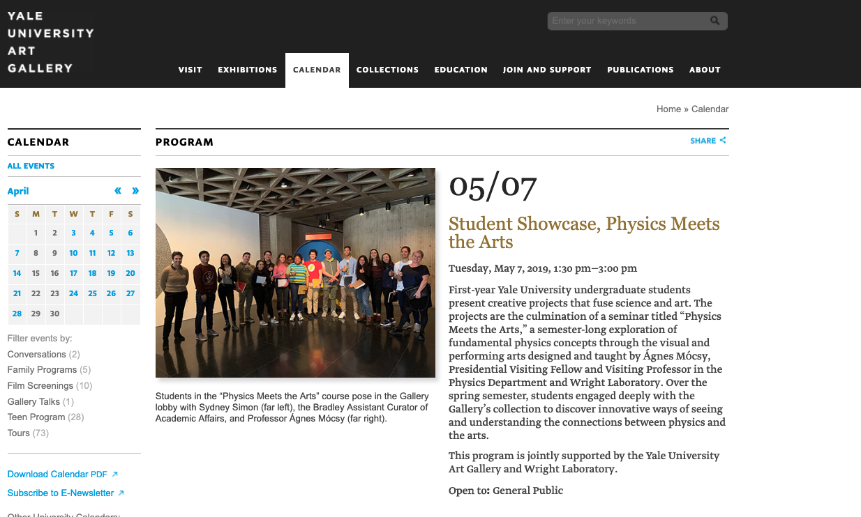 Physics Meets the Arts Show at YUAG