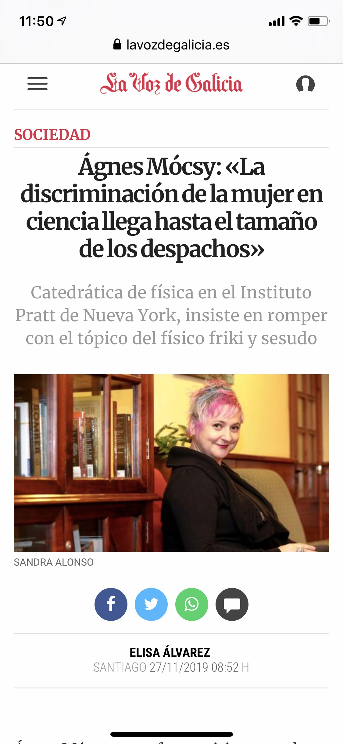 Interview in La Voz de Galicia