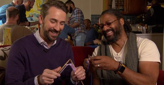 SF Men Knit member Charles Ford teaching Joe Fryer of NBC's Today Show how to knit.