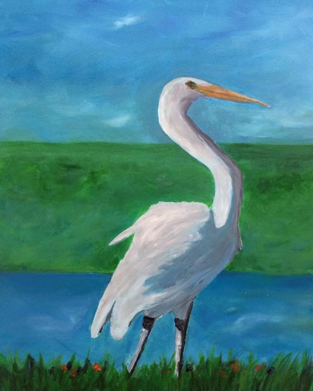 EGRET BY THE POND