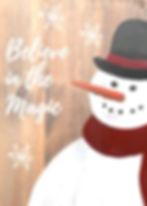 Wine & Paint Night Snowman on wood plank