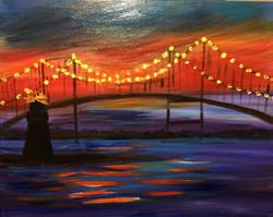 BRIDGE AND GOAT ISLAND LIGHTHOUSE