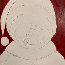 Paint the background trace around the snowman first then fill in the rest, use the small tappered brush and switch to the large flat brush.