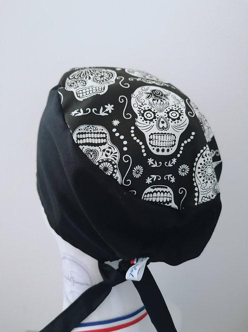 Calot noir et blanc phosphorescent-tete-de-mort