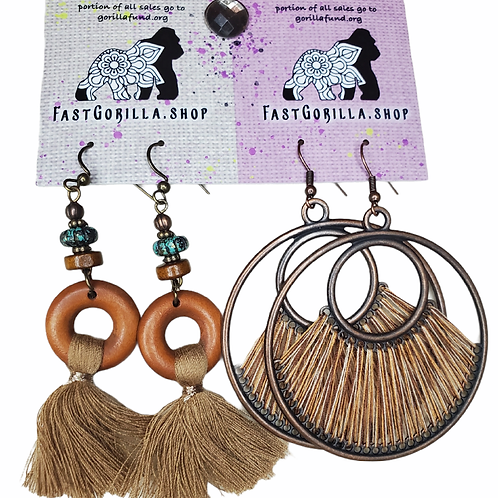 Fast Gorilla  Earrings, brass with wood and  organic accents