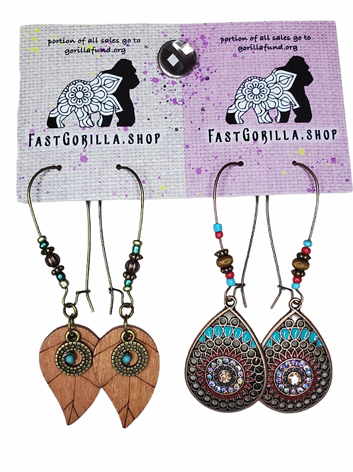 Fast Gorilla  Earrings,  brass with intricate designs and real wood