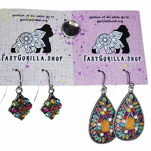 Fast Gorilla  Earrings with silver and enamel and rhinestone inlay