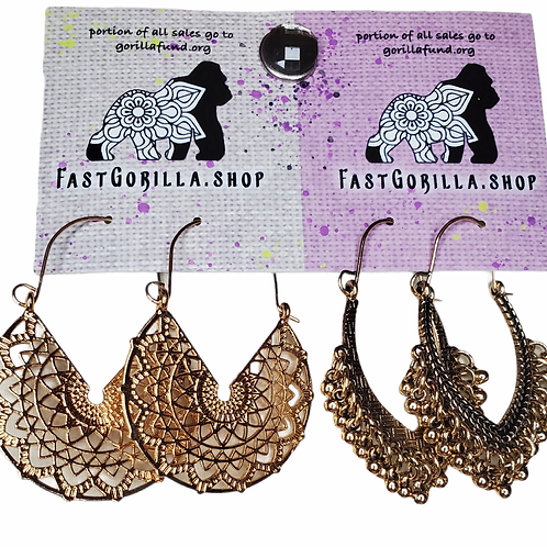 Fast Gorilla  Earrings, gold with intricate designs
