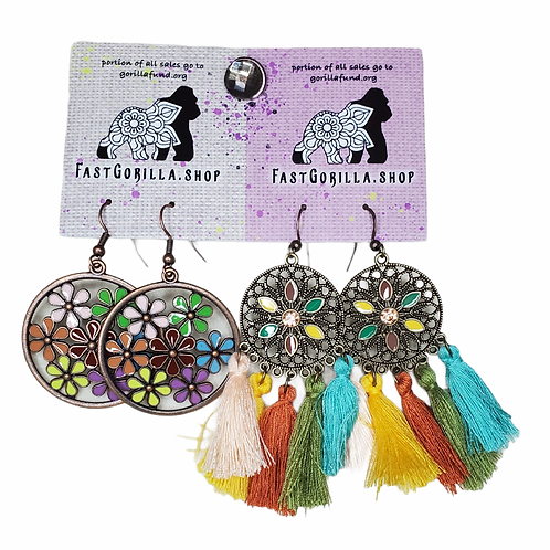 Fast Gorilla  Earrings, brass with colorful inlay and tassels