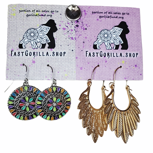 Fast Gorilla  Earrings, gold with feather & silver and enamel  inlay