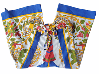 Original Wrap Pants - Blue, Yellow, Green, Red and Peacocks
