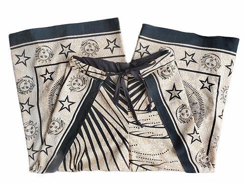 Original Wrap Pants - Black and Cream, Stars