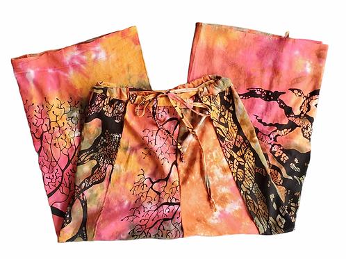 Original Wrap Pants - Pink, Orange, Yellow, Tie dye and Tree