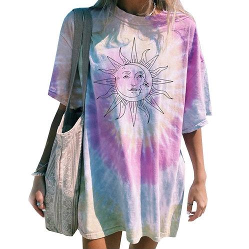 Tie-Dye Sun T-Shirt Boho O Neck Printed Pullover Women's Oversize T-Shirt