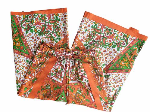 Original Wrap Pants - Orange, Green, White, Elephants