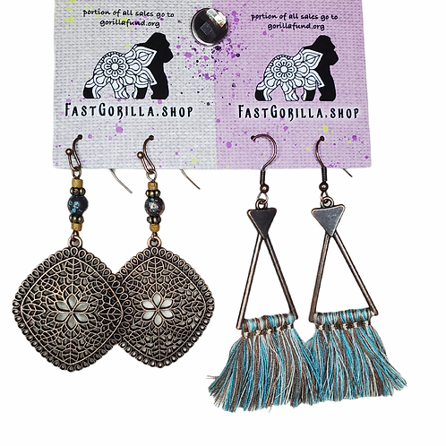 Fast Gorilla  Earrings,  oxidized brass with intricate designs