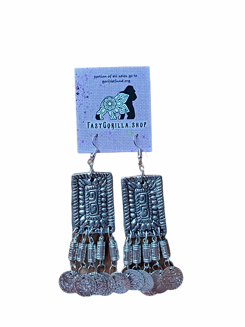 Fast Gorilla  Earrings with bells and coins