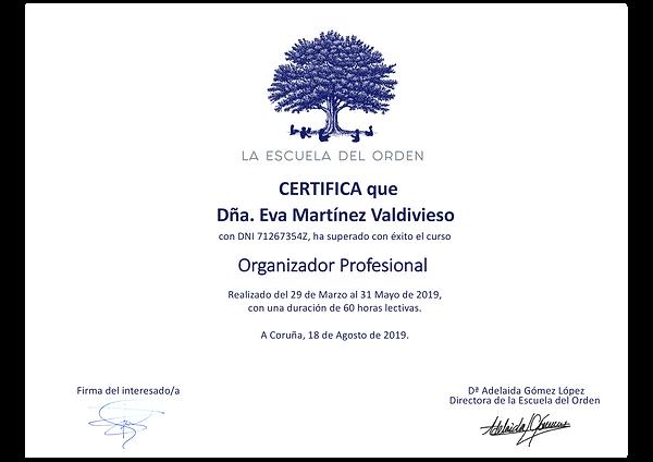 Certificación curso Organización Profesi