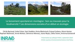 Le boisement spontané en montagne : bon au mauvais pour la biodiversité ?