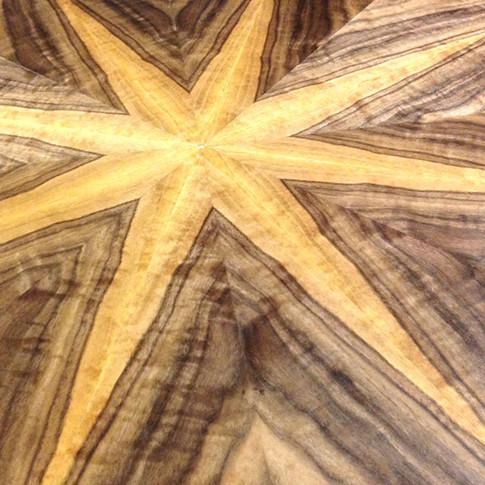 Walnut Starburst Circular Table