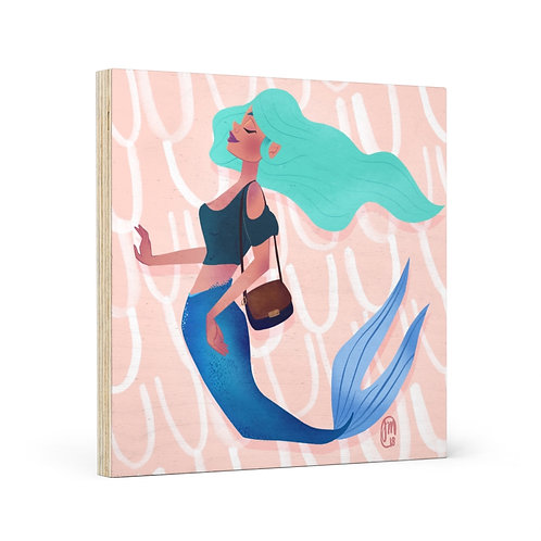 Snooty Mermaid Wood Canvas