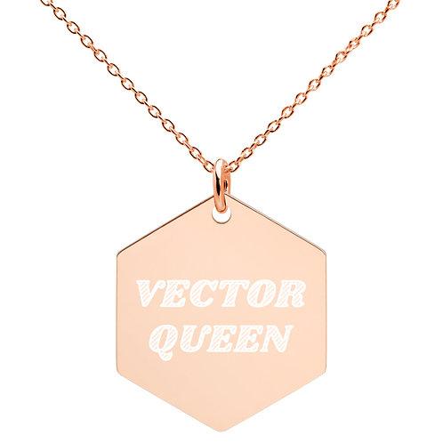 Vector Queen Engraved Plated Silver Hexagon Necklace