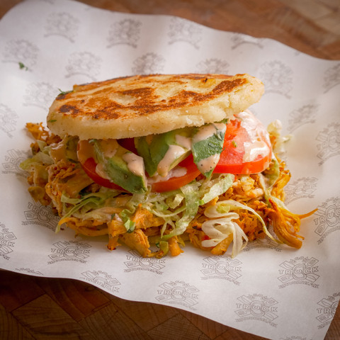 Chicken and beans arepa