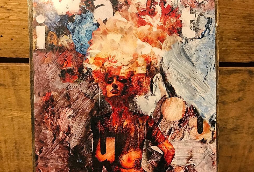 """Temptation"" wood-paneled canvas"