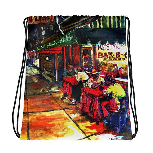 Ron's Ribs Mural Drawstring bag