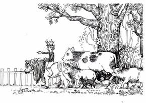 Little boy with farm animals