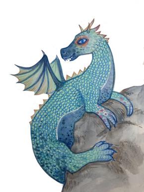 Blue mommy dragon