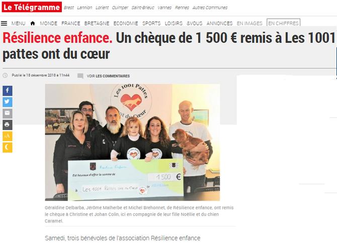 Résilience enfance. Un chèque de 1 500 € remis à Les 1001 pattes ont du cœur