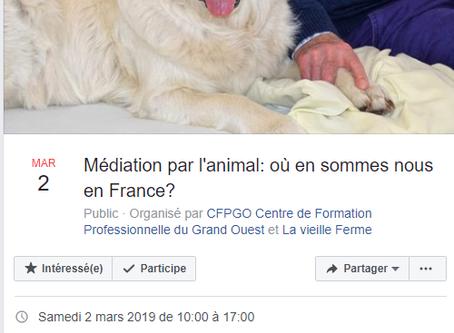 "Samedi 2 mars 2019: conférence ""Médiation par l'animal: où en sommes nous en France?"""