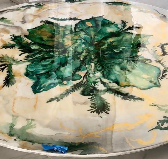 Pop Art Table Green leafs