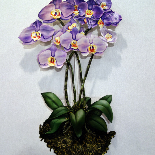 Violet Orchids on acrylic base