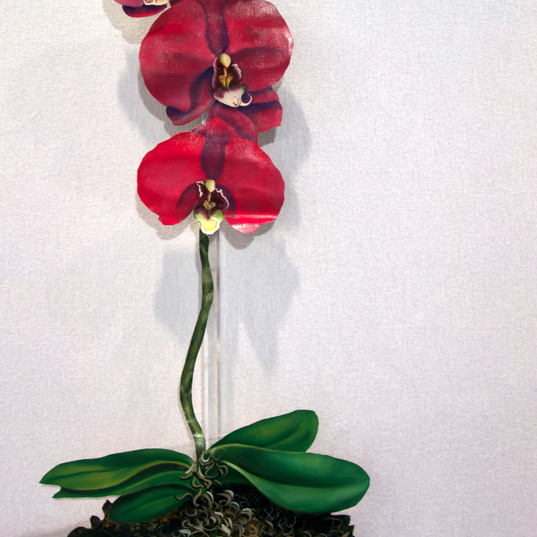 Triple orchids on acrylic base