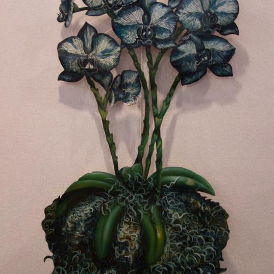 Blue Orchids con acrylic base