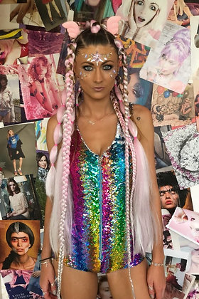 """She Was A Rainbow"" Glitter Playsuit"