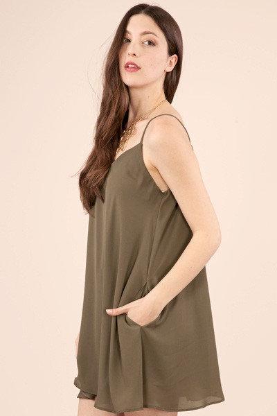 Alice Olive Slip Dress