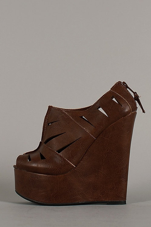 Florence Cut Out Peep Toe Wedge Bootie