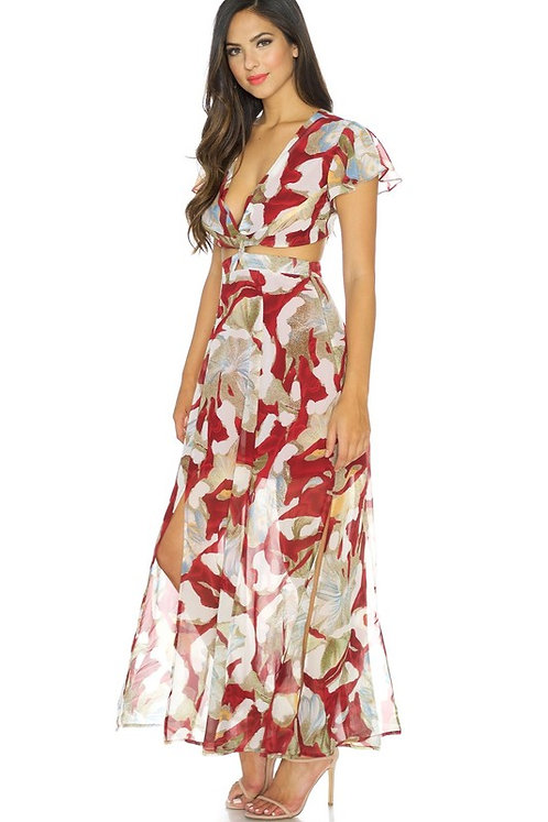 Multi Floral Side Cut-out Maxi Dress